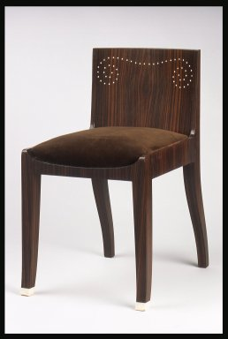 Emile-Jacques Ruhlmann (French, 1879-1933). <em>Side Chair and Slip Seat, 1 of 4</em>, ca. 1923. Macassar ebony veneer with ivory inlay, 26 11/16 x 15 x 16 7/8 in. (67.8 x 38.1 x 42.9 cm). Brooklyn Museum, Purchased with funds given by Joseph F. McCrindle, Mrs. Richard M. Palmer, Charles C. Paterson, Raymond Worgelt, and an anonymous donor, 71.150.10a-b. Creative Commons-BY (Photo: Brooklyn Museum, 71.150.10a-b.jpg)