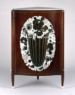 Emile-Jacques Ruhlmann (French, 1879-1933). <em>Corner Cabinet</em>, ca. 1923. Kingwood (amaranth) veneer on mahogany, ivory inlay, 49 7/8 x 31 3/4 x 23 1/2 in. (126.7 x 80.6 x 59.7 cm). Brooklyn Museum, Purchased with funds given by Joseph F. McCrindle, Mrs. Richard M. Palmer, Charles C. Paterson, Raymond Worgelt, and an anonymous donor, 71.150.1. Creative Commons-BY (Photo: Brooklyn Museum, 71.150.1_SL1.jpg)