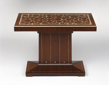 Emile-Jacques Ruhlmann (French, 1879-1933). <em>Table</em>, ca. 1923. Kingwood veneer on mahogany and oak with ivory inlay, 22 1/8 x 15 3/8 x 30 3/4 in. (56.2 x 39.1 x 78.1 cm). Brooklyn Museum, Purchased with funds given by Joseph F. McCrindle, Mrs. Richard M. Palmer, Charles C. Paterson, Raymond Worgelt, and an anonymous donor, 71.150.3. Creative Commons-BY (Photo: Brooklyn Museum, 71.150.3_SL1.jpg)
