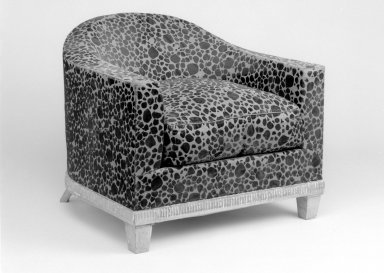 Emile-Jacques Ruhlmann (French, 1879-1933). <em>Upholstered Armchair with Seat Cusion, One of Pair</em>, 1923. Lame woven with velvet, 25 1/2 x 30 x 30 3/4 in. (64.8 x 76.2 x 78.1 cm). Brooklyn Museum, Purchased with funds given by Joseph F. McCrindle, Mrs. Richard M. Palmer, Charles C. Paterson, Raymond Worgelt, and an anonymous donor, 71.150.4a-b. Creative Commons-BY (Photo: Brooklyn Museum, 71.150.4a-b_bw.jpg)