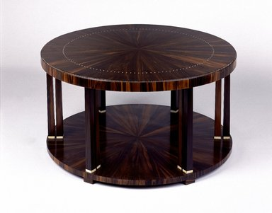 Emile-Jacques Ruhlmann (French, 1879-1933). <em>Table</em>, ca. 1923. Macassar ebony veneer with ivory inlay on mahogany, 14 3/4 x 31 3/8 x 31 3/8 in., 36.5 lb. (37.5 x 79.7 x 79.7 cm, 16.56kg). Brooklyn Museum, Purchased with funds given by Joseph F. McCrindle, Mrs. Richard M. Palmer, Charles C. Paterson, Raymond Worgelt, and an anonymous donor, 71.150.6. Creative Commons-BY (Photo: Brooklyn Museum, 71.150.6_SL1.jpg)