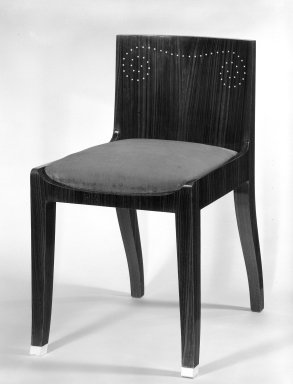 Emile-Jacques Ruhlmann (French, 1879-1933). <em>Side Chair and Slip Seat, 1 of 4</em>, ca. 1923. Macassar ebony veneer with ivory inlay, 26 11/16 x 15 x 16 7/8 in. (67.8 x 38.1 x 42.9 cm). Brooklyn Museum, Purchased with funds given by Joseph F. McCrindle, Mrs. Richard M. Palmer, Charles C. Paterson, Raymond Worgelt, and an anonymous donor, 71.150.7a-b. Creative Commons-BY (Photo: Brooklyn Museum, 71.150.7a-b_bw.jpg)