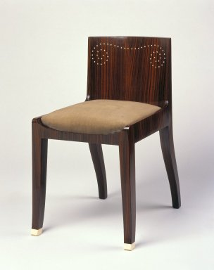 Emile-Jacques Ruhlmann (French, 1879-1933). <em>Side Chair and Slip Seat, 1 of 4</em>, ca. 1923. Macassar ebony veneer with ivory inlay, 26 11/16 x 15 x 16 7/8 in. (67.8 x 38.1 x 42.9 cm). Brooklyn Museum, Purchased with funds given by Joseph F. McCrindle, Mrs. Richard M. Palmer, Charles C. Paterson, Raymond Worgelt, and an anonymous donor, 71.150.8a-b. Creative Commons-BY (Photo: Brooklyn Museum, 71.150.8a-b_SL1.jpg)