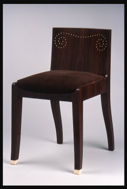 Emile-Jacques Ruhlmann (French, 1879-1933). <em>Side Chair with Slip Seat, 1 of 4</em>, ca. 1923. Macassar ebony veneer with ivory inlay, 26 11/16 x 16 7/8 x 15 in. (67.8 x 42.9 x 38.1 cm). Brooklyn Museum, Purchased with funds given by Joseph F. McCrindle, Mrs. Richard M. Palmer, Charles C. Paterson, Raymond Worgelt, and an anonymous donor, 71.150.9a-b. Creative Commons-BY (Photo: Brooklyn Museum, 71.150.9a-b.jpg)