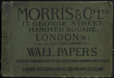 Morris & Company (1875-1940). <em>Wallpaper Sample Book</em>, before 1917. Printed paper, 21 1/2 x 14 1/2 in. (54.6 x 36.8 cm). Brooklyn Museum, Purchased with funds given by Mr. and Mrs. Carl L. Selden and Designated Purchase Fund, 71.151.1 (Photo: Brooklyn Museum, 71.151.1_cover_PS1.jpg)