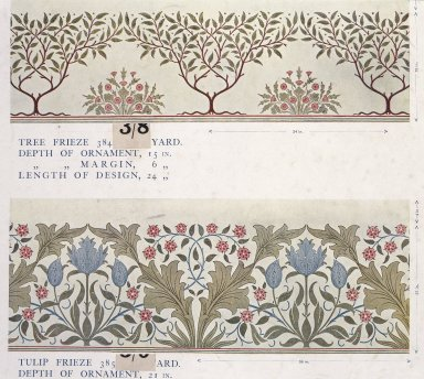 Morris & Company (1875-1940). <em>Wallpaper Sample Book</em>, before 1917. Printed paper, 21 1/2 x 14 1/2 in. (54.6 x 36.8 cm). Brooklyn Museum, Purchased with funds given by Mr. and Mrs. Carl L. Selden and Designated Purchase Fund, 71.151.2 (Photo: Brooklyn Museum, 71.151.2_page013_SL1.jpg)