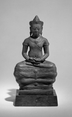 Khmer. <em>Figure of Bhaisajyaguru (Buddha of Healing)</em>, ca. 12th century. Bronze, 7 11/16 x 3 1/4 x 2 3/8 in. (19.5 x 8.3 x 6 cm). Brooklyn Museum, Gift of Alice Kaplan, 71.166. Creative Commons-BY (Photo: Brooklyn Museum, 71.166_bw.jpg)
