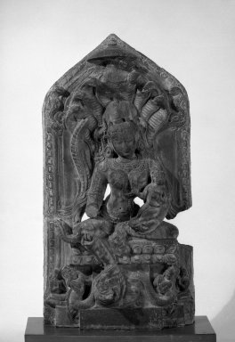 <em>The Goddess Manasa</em>, 12th century. Stone, 21 x 11 in. (53.3 x 27.9 cm). Brooklyn Museum, Gift of Mr. and Mrs. Earl Morse, 71.167.2. Creative Commons-BY (Photo: Brooklyn Museum, 71.167.2_bw.jpg)