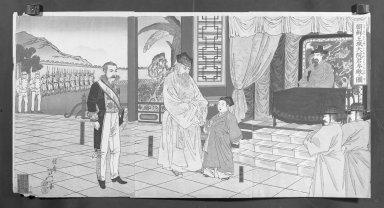 Watanabe Nobukazu (Japanese, 1872-1944). <em>Illustration of the Meeting with Taewongun at the Korean Royal Palace (Chosen ojo Tai-in-kun sanden no zu)</em>, August, 1894. Color on paper, Each Panel: 14 5/8 x 9 3/4 in. (37.1 x 24.8 cm). Brooklyn Museum, Gift of Mr. and Mrs. Tessim Zorach, 71.168.10 (Photo: Brooklyn Museum, 71.168.10_cropped_bw_IMLS.jpg)