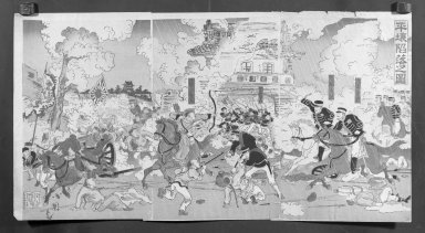Utagawa Kokunimasa (Japanese, 1874-1944). <em>Illustration of the Fall of the Castle of Pyongyang (Heijō rakujō no zu)</em>, 1894. Color and mica on paper, Each Panel: 14 5/8 x 9 3/4 in. (37.1 x 24.8 cm). Brooklyn Museum, Gift of Mr. and Mrs. Tessim Zorach, 71.168.1 (Photo: Brooklyn Museum, 71.168.1_cropped_bw_IMLS.jpg)