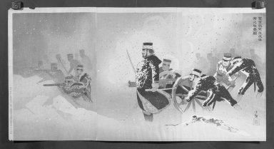 Kobayashi Kiyochika (Japanese, 1847-1915). <em>Braving the Snow, Our Troops Capture the Stronghold at Weihaiwei (Yuki o okashite, waga gun Ikaiei no kenrui o nuku zu)</em>, February, 1895. Color on paper, Each Panel: 14 5/8 x 9 3/4 in. (37.1 x 24.8 cm). Brooklyn Museum, Gift of Mr. and Mrs. Tessim Zorach, 71.168.2 (Photo: Brooklyn Museum, 71.168.2_cropped_bw_IMLS.jpg)