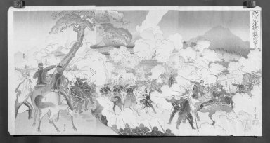 Adachi Ginko (1853-1902). <em>Our Army Attacks Enemy Troups at Jiuliancheng (Wagagun Kyorejo no tekihei o kogeki su)</em>, August, 1894. Color on paper, Each Panel: 14 x 9 3/8 in. (35.6 x 23.8 cm). Brooklyn Museum, Gift of Mr. and Mrs. Tessim Zorach, 71.168.4 (Photo: , 71.168.4_cropped_bw_IMLS.jpg)