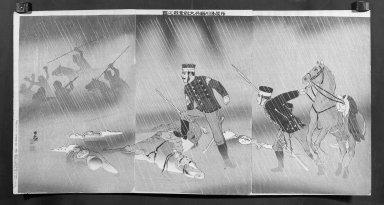 Kobayashi Kiyochika (Japanese, 1847-1915). <em>The Heroic Fight of Cavalry Scout Captain Asakawa (Sekkō Asakawa Kihei-taii funtō no zu)</em>, January, 1895. Woodblock print: ink and mica on paper, Each Panel: 14 5/8 x 9 3/4 in. (37.1 x 24.8 cm). Brooklyn Museum, Gift of Mr. and Mrs. Tessim Zorach, 71.168.7 (Photo: Brooklyn Museum, 71.168.7_cropped_bw_IMLS.jpg)