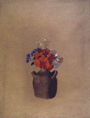 Odilon Redon (French, 1840-1916). <em>Flowers in a Vase (Fleurs dans un vase)</em>, ca. 1909?. Pastel on tan paper, Sheet: 21 5/8 x 16 1/2 in. (54.9 x 41.9 cm). Brooklyn Museum, Anonymous gift in memory of Horace Havemeyer, 71.171 (Photo: Brooklyn Museum, 71.171.jpg)