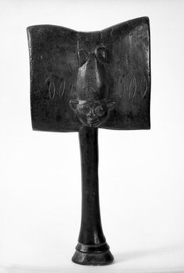 Yorùbá. <em>Shango Dance Wand</em>, late 19th or early 20th century. Wood, 18 x 10 in. (46.0 x 25.0 cm). Brooklyn Museum, Gift of Dr. and Mrs. Abbott A. Lippman, 71.177.2. Creative Commons-BY (Photo: Brooklyn Museum, 71.177.2_bw.jpg)