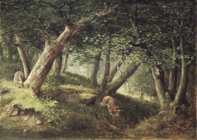 William Holbrook Beard (American, 1824-1900). <em>In the Forest</em>, 1856. Oil on canvas, 25 13/16 x 36 in. (65.6 x 91.4 cm). Brooklyn Museum, A. Augustus Healy Fund, 71.18 (Photo: Brooklyn Museum, 71.18.jpg)