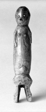 Lega. <em>Figurine Individally Held by a Kindi (Maginga)</em>, early 20th century. Ivory, glass, 7 x 1 1/2 x 1 1/2 in. (17.8 x 3.8 x 3.8 cm). Brooklyn Museum, Gift of Jerome Furman, 71.19.5. Creative Commons-BY (Photo: Brooklyn Museum, 71.19.5_bw.jpg)