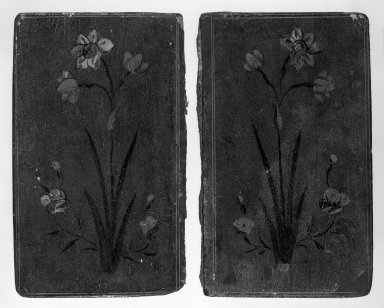 <em>Pair of Bookcovers</em>. Lacquered, 6 1/2 x 3 15/16 in. (16.5 x 10 cm) each. Brooklyn Museum, Bequest of Julian Clarence Levi, 71.193.8a-b (Photo: Brooklyn Museum, 71.193.8a-b_inside_bw.jpg)