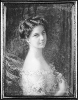 Carl Weidner (American, 1865-1906). <em>Miss Alice Fries</em>, ca. 1901. Watercolor on ivory portrait in metal liner in wood frame under glass lens, Image (sight): 3 5/8 x 2 13/16 in. (9.2 x 7.1 cm). Brooklyn Museum, Bequest of Julian Clarence Levi, 71.200.3 (Photo: Brooklyn Museum, 71.200.3_bw_SL1.jpg)