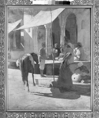 Edwin Lord Weeks (American, 1849-1903). <em>Native Shop in Bombay, India (Gwalior)</em>, n.d. Oil on canvas, 39 1/8 x 31 5/8 in. (99.4 x 80.3 cm). Brooklyn Museum, Bequest of Julian Clarence Levi, 71.200.7 (Photo: Brooklyn Museum, 71.200.7_framed_bw.jpg)