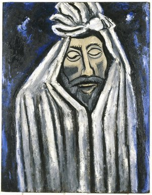 Marsden Hartley (American, 1877-1943). <em>The Last Look of John Donne</em>, 1940. Oil on academy board, 28 1/8 x 22 in. (71.4 x 55.9 cm). Brooklyn Museum, Gift of Mr. and Mrs. Milton Lowenthal, 71.201. © artist or artist's estate (Photo: Brooklyn Museum, 71.201_SL1.jpg)