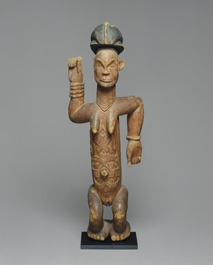 Lumbo. <em>Standing Female Figure</em>, 19th century. Wood, pigment, 34 x 12 x 6 1/2 in. (86.4 x 30.5 x 16.5 cm). Brooklyn Museum, Gift of Marcia and John Friede, 71.202. Creative Commons-BY (Photo: Brooklyn Museum, 71.202_SL1.jpg)