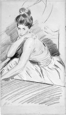 Paul-César Helleu (French, 1859-1927). <em>Seated Woman</em>. Red, black, and white chalk drawing, 17 x 9 7/8 in. (43.2 x 25.1 cm). Brooklyn Museum, Bequest of Julian Clarence Levi, 71.206.1 (Photo: Brooklyn Museum, 71.206.1_bw.jpg)