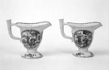 The Chinese Export Porcelain Co.. <em>Creamer</em>, ca.1755. Porcelain, 5 1/4 x 6 1/2 in. (13.3 x 16.5 cm). Brooklyn Museum, Gift of Donald S. Morrison, 71.208.3. Creative Commons-BY (Photo: , 71.208.3_71.208.4_bw.jpg)