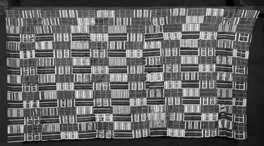 Ewe. <em>Kente Cloth</em>, late 19th-early 20th century. Sewn cotton panels, 120 x 64 in. (304.8 x 162.6 cm). Brooklyn Museum, Robert B. Woodward Memorial Fund, 71.211. Creative Commons-BY (Photo: Brooklyn Museum, 71.211_view1_bw.jpg)