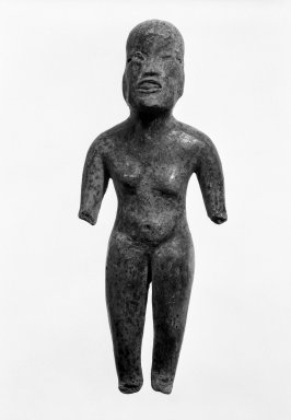 Olmec. <em>Standing Figure</em>, 1200-400 B.C.E. Ceramic, 6 1/4 x 2 1/2 x 1 in. (15.9 x 6.4 x 2.5 cm). Brooklyn Museum, Gift of Elliot Picket, 71.22.1. Creative Commons-BY (Photo: Brooklyn Museum, 71.22.1_bw.jpg)