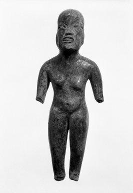 Olmec. <em>Standing Figure</em>, 1200-400 B.C.E. Ceramic, 6 1/4 x 2 1/2 x 1 in. (15.9 x 6.4 x 2.5 cm). Brooklyn Museum, Gift of Elliot Picket, 71.22.1. Creative Commons-BY (Photo: Brooklyn Museum, 71.22.1_bw.jpg)