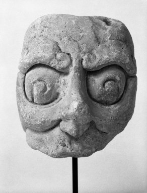 <em>Head with Half Mask</em>. Stucco Brooklyn Museum, Gift of Elliot Picket, 71.22.3. Creative Commons-BY (Photo: Brooklyn Museum, 71.22.3_bw.jpg)