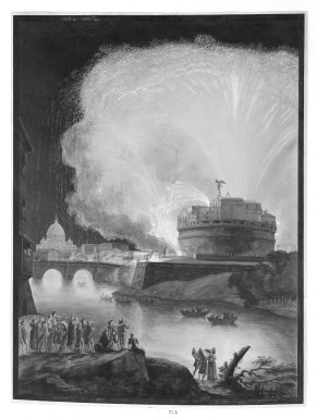 Unknown. <em>Fireworks Over Castel St. Angelo, Rome</em>. Gouache on lithograph Brooklyn Museum, Gift of Joseph F. McCrindle, 71.2 (Photo: Brooklyn Museum, 71.2_bw.jpg)