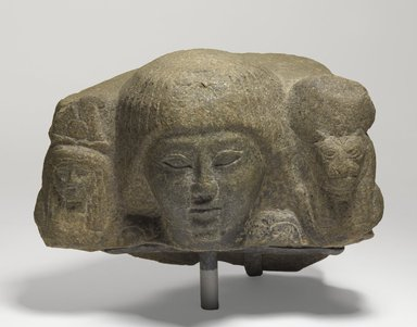 <em>Priest with Divine Standards</em>, ca. 1295-1185 B.C.E. Stone, 5 1/2 x 7 5/16 x 4 1/8 in. (14 x 18.5 x 10.5 cm). Brooklyn Museum, Charles Edwin Wilbour Fund, 71.37.1. Creative Commons-BY (Photo: Brooklyn Museum, 71.37.1_PS9.jpg)