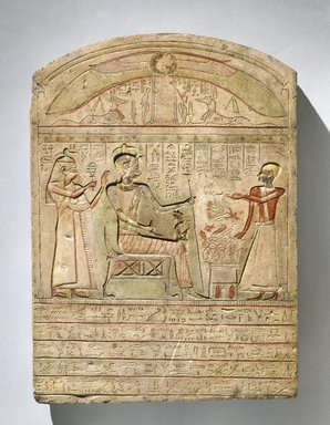 <em>Stela of Pakhaas</em>, 2nd-1st century B.C.E. Limestone, pigment, 14 3/4 x 10 5/8 x 1 5/8 in. (37.5 x 27 x 4.2 cm). Brooklyn Museum, Charles Edwin Wilbour Fund, 71.37.2. Creative Commons-BY (Photo: Brooklyn Museum, 71.37.2_SL1.jpg)