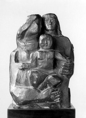 "William Zorach (American, born Lithuania, 1887-1966). <em>Cast of Original Model for ""Wisdom of Solomon,""</em> ca. 1960; Cast in bronze 1963-1964. Bronze, 12 x 7 x 5 in., 9 lb. (30.5 x 17.8 x 12.7 cm, 4.1kg). Brooklyn Museum, Gift of Tessim Zorach and Dahlov Ipcar, 71.53. © artist or artist's estate (Photo: Brooklyn Museum, 71.53_bw.jpg)"