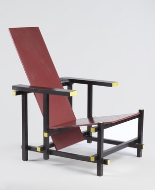 Gerrit Th. Rietveld (Dutch, 1888-1964). <em>Red Blue Chair</em>, ca. 1917-1918. Painted beechwood, 33 1/2 x 26 x 26 in. (85.1 x 66 x 66 cm). Brooklyn Museum, Designated Purchase Fund, 71.73. Creative Commons-BY (Photo: Brooklyn Museum, 71.73_threequarter_PS9.jpg)