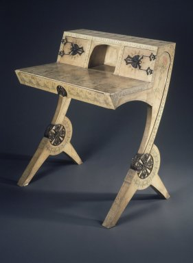 Carlo Bugatti (1855-1940). <em>Lady's Writing Desk</em>, ca. 1904. Beechwood, parchment, gesso, paint, copper, 37 5/8 x 31 1/2 x 22 3/4 in.  (95.6 x 80.0 x 57.8 cm). Brooklyn Museum, Frank L. Babbott Fund, Henry L. Batterman Fund, Frank Sherman Benson Fund, Carll H. de Silver Fund, Frederick Loeser Fund, and Charles Stewart Smith Memorial Fund, 71.74. Creative Commons-BY (Photo: Brooklyn Museum, 71.74.jpg)