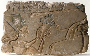 <em>Nefertiti</em>, ca. 1352-1336 B.C.E. Limestone, pigment, 9 1/4 x 15 3/16 in. (23.5 x 38.5 cm). Brooklyn Museum, Charles Edwin Wilbour Fund, 71.89. Creative Commons-BY (Photo: Brooklyn Museum, 71.89_SL1.jpg)