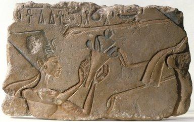 <em>Nefertiti</em>, ca. 1352-1336 B.C.E. Limestone, pigment, 9 1/4 x 15 3/16 in. (23.5 x 38.5 cm). Brooklyn Museum, Charles Edwin Wilbour Fund, 71.89. Creative Commons-BY (Photo: Brooklyn Museum, 71.89_SL1.jpg)