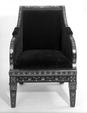<em>Armchair (Renaissance Revival style)</em>, ca. 1875. Ebony, various woods, ivory, mother-of-pearl, modern upholstery, 39 x 25 7/8 x 26 3/8 in. (99.1 x 65.7 x 67 cm). Brooklyn Museum, Gift of Mr. and Mrs. George N. Richard, 71.95. Creative Commons-BY (Photo: Brooklyn Museum, 71.95_bw.jpg)