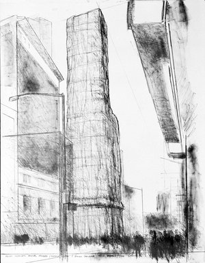 Christo (American, born Bulgaria, 1935). <em>Allied Chemical Tower, Rear from Some Not Realized Projects</em>, 1971. Lithograph in color, Sheet: 28 x 22 in. (71.1 x 55.9 cm). Brooklyn Museum, National Endowment for the Arts and Bristol-Myers Fund, 72.111. © artist or artist's estate (Photo: Brooklyn Museum, 72.111_bw.jpg)
