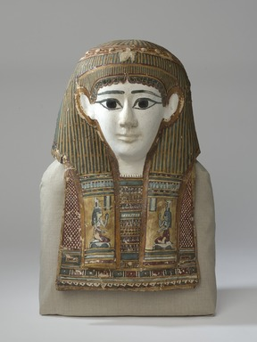 <em>Mummy Mask of Woman</em>, 1st century B.C.E. Linen, stucco, pigment, 18 7/8 x 14 x 7 in. (48 x 35.5 x 17.8 cm). Brooklyn Museum, Charles Edwin Wilbour Fund, 72.11. Creative Commons-BY (Photo: Brooklyn Museum, 72.11_PS9.jpg)