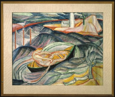 Marguerite Thompson Zorach (American, 1887-1968). <em>Skiff in Waves (recto) and Figures in Landscape (verso)</em>, 1913-1914. Oil on canvas, recto: 25 3/4 x 32 1/4 in. (65.4 x 81.9 cm). Brooklyn Museum, Gift of Mr. and Mrs. Tessim Zorach, 72.136a-b. © artist or artist's estate (Photo: Brooklyn Museum, 72.136a-b_recto_SL1.jpg)