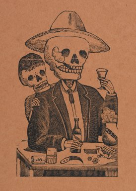 Manuel Manilla (Mexican, 1830-1895). <em>Skeleton Figure in Bar</em>, printed and published 1971. Relief engraving on paper, 14 7/8 x 11 in. (37.8 x 27.9 cm). Brooklyn Museum, Designated Purchase Fund, 72.141.4 (Photo: Brooklyn Museum, 72.141.4_PS2.jpg)