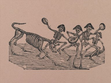 Manuel Manilla (Mexican, 1830-1895). <em>Skeleton Bull Fighters</em>, printed and published 1971. Relief engraving on paper, 14 7/8 x 11 in. (37.8 x 27.9 cm). Brooklyn Museum, Designated Purchase Fund, 72.141.5 (Photo: Brooklyn Museum, 72.141.5_PS2.jpg)