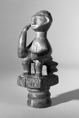 Asante. <em>Figure of a Man Seated on a Stool</em>, early 20th century. Wood, height: 7 1/4 in. (18.5 cm). Brooklyn Museum, Gift of Dr. and Mrs. Abbott A. Lippman to the Jennie Simpson Educational Collection of African Art, 72.172.4. Creative Commons-BY (Photo: Brooklyn Museum, 72.172.4_bw.jpg)