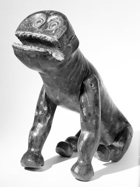 Ibibio. <em>Animal Puppet</em>, early 20th century. Wood, pigment, varnish, ferrous nails and screws, 10 1/2 x 8 1/8 x 18 in. (26.6 x 21.6 x 45.7 cm). Brooklyn Museum, Gift of Mr. and Mrs. John McDonald, 72.173. Creative Commons-BY (Photo: Brooklyn Museum, 72.173_bw.jpg)