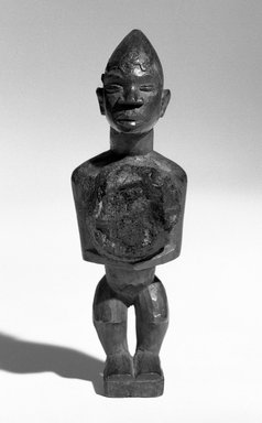 Kongo. <em>Standing Male Figure</em>, late 19th or early 20th century. Wood, 5 1/2 x 1 3/4 x 1 1/2 in. (13.5 x 4.5 x 4.0 cm). Brooklyn Museum, Gift of Merton D. Simpson to the Jennie Simpson Educational Collection of African Art, 72.175.5. Creative Commons-BY (Photo: Brooklyn Museum, 72.175.5_bw.jpg)