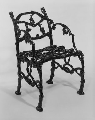 Unknown. <em>Armchair</em>, ca. 1850-1900. Cast iron, 29 1/2 x 21 1/2 x 16 1/4 in. (74.9 x 54.6 x 41.3 cm). Brooklyn Museum, Gift of Dr. and Mrs. Eben Breed, 72.180.4. Creative Commons-BY (Photo: Brooklyn Museum, 72.180.4_bw.jpg)